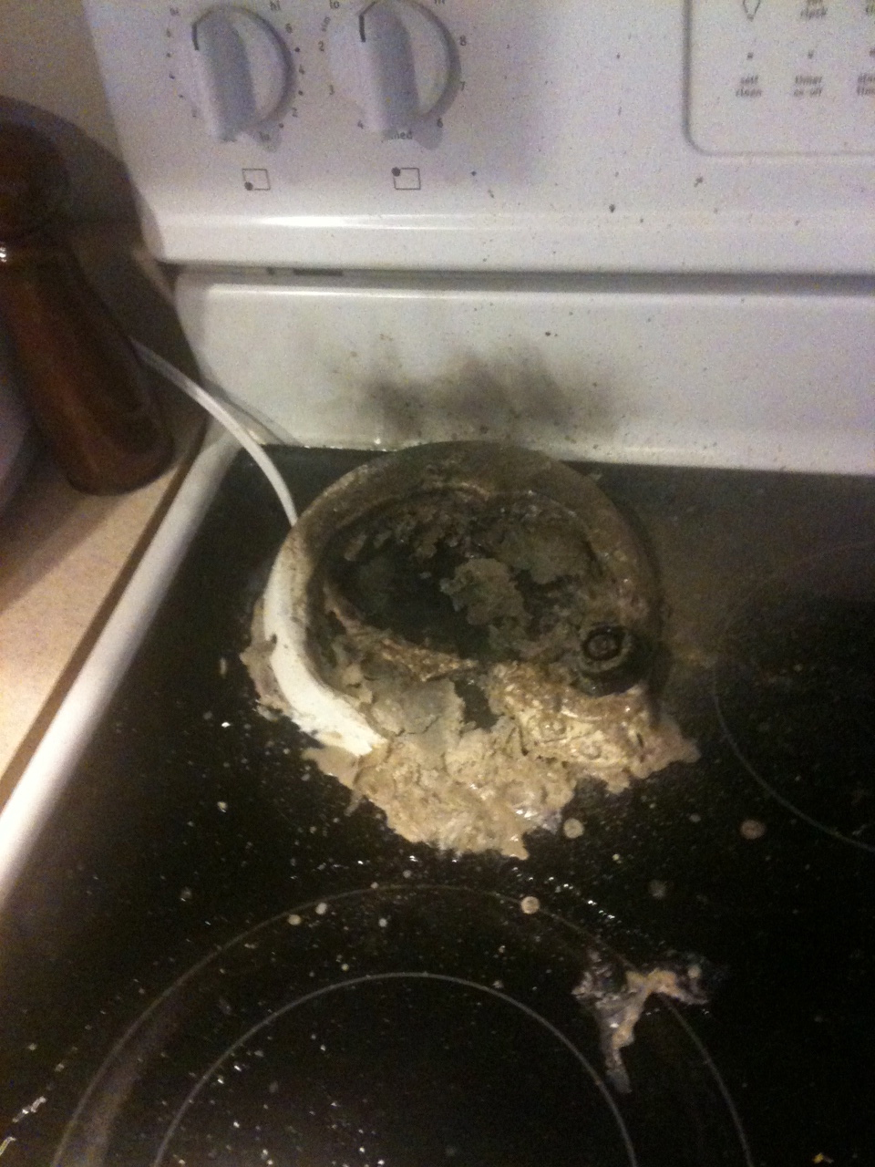 how to get melted plastic off electric stove top