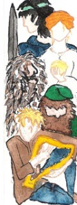 This was a bookmark I painted for Lloyd of his Prydain characters