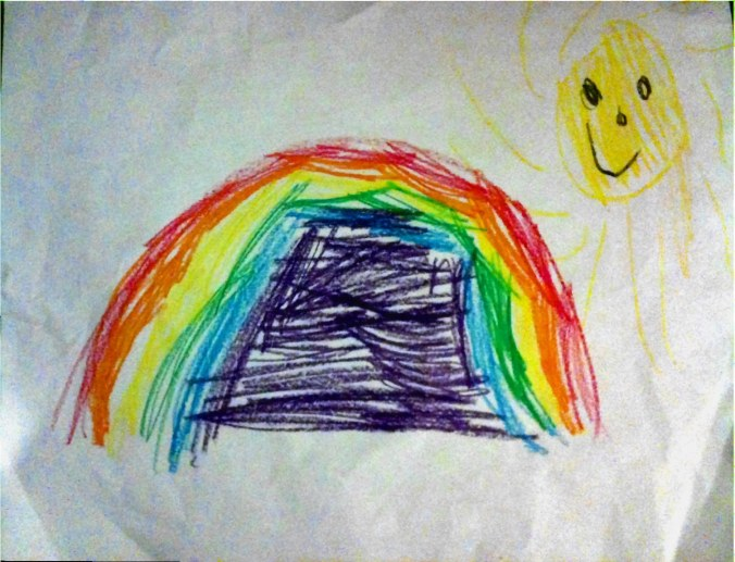 I like how she knows there needs to be sun AND darkness for a rainbow. And hey--Roy G Biv!