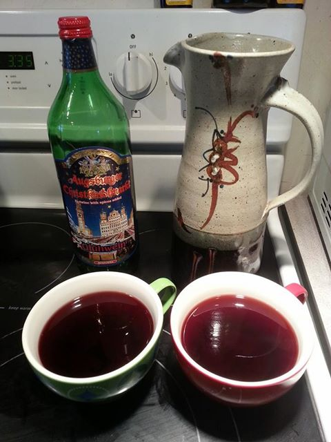 """German spiced wine served hot after a snowshoe around the pond"" - my Paul"