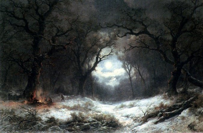A Moonlit Winter Landscape, by Remigius van Haanen (1812-1894)