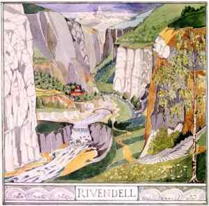 Rivendell, as painted by its creator, JRR Tolkien