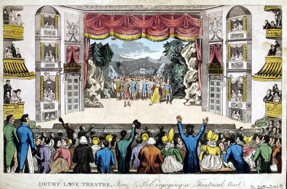 Cruikshank_Pierce_Egans_Real_Life_-_Drury_Lane_Theatre_1821